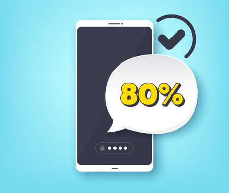 80% off Sale. Mobile phone with alert notification message. Discount offer price sign. Special offer symbol. Customer service app banner. Discount badge shape. Vector