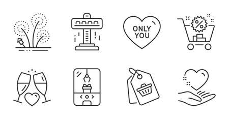 Attraction, Fireworks and Shopping cart line icons set. Wedding glasses, Crane claw machine and Sale tag signs. Hold heart, Only you symbols. Free fall, Pyrotechnic salute, Discount. Vector