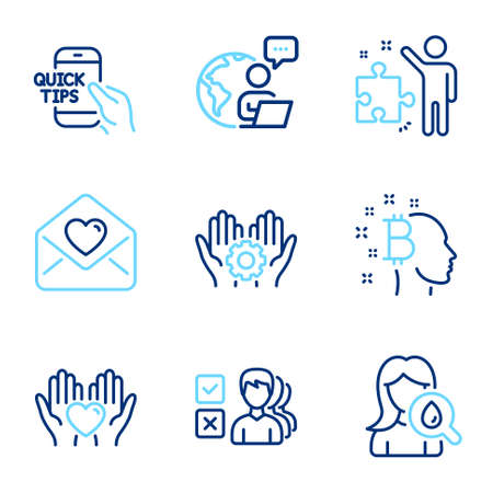 People icons set. Included icon as Hold heart, Strategy, Love letter signs. Bitcoin think, Opinion, Education symbols. Moisturizing cream, Employee hand line icons. Friendship, Business plan. Vector