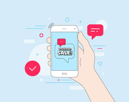 Weekend Sale. Mobile phone with offer message. Special offer price sign. Advertising Discounts symbol. Customer service banner. Weekend sale badge shape. Phone app speech bubble. Vector