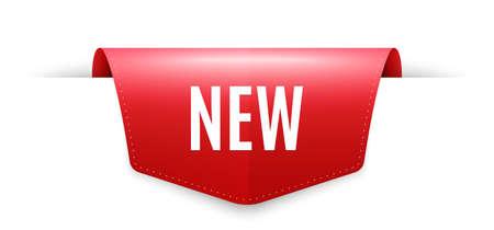 New symbol. Ribbon label tag. Special offer sign. New arrival. Infographics price tag banner. Arrivals badge shape. Website ribbon label banner. Vector Illusztráció