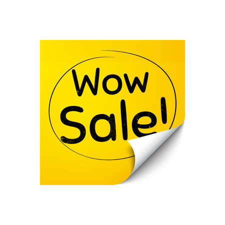 Wow Sale. Sticker note with offer message. Special offer price sign. Advertising Discounts symbol. Yellow sticker banner. Wow sale badge shape. Post note. Adhesive offer paper sheet. Vector