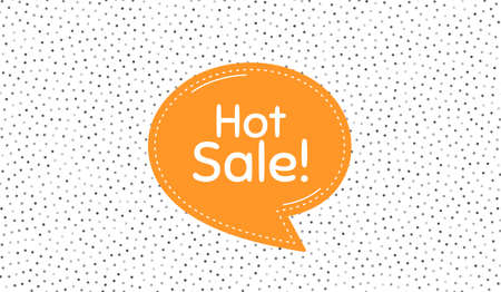 Hot Sale. Orange speech bubble on polka dot pattern. Special offer price sign. Advertising Discounts symbol. Dialogue or thought speech balloon on polka dot background. Vector