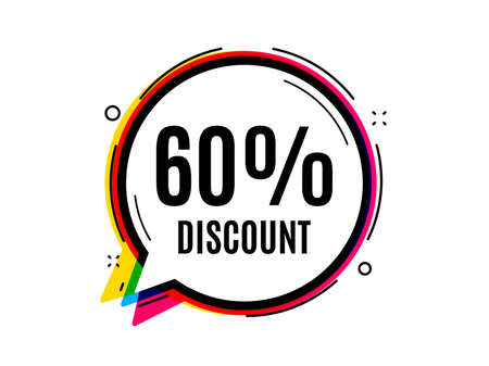 60% Discount. Speech bubble vector banner. Sale offer price sign. Special offer symbol. Thought or dialogue speech balloon shape. Discount chat think bubble. Infographic cloud message. Vector  イラスト・ベクター素材