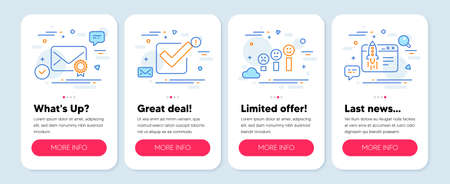 Set of Education icons, such as Verified mail, Checkbox, Customer satisfaction symbols. Mobile app mockup banners. Start business line icons. Confirmed e-mail, Approved tick, Happy smile chart. Vector