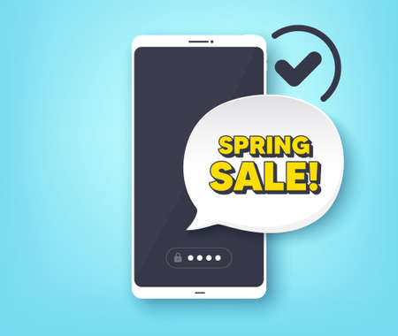 Spring Sale. Mobile phone with alert notification message. Special offer price sign. Advertising Discounts symbol. Customer service app banner. Spring sale badge shape. Vector