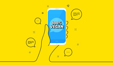 100 percent vegan. Hand hold phone. Yellow banner with continuous line. Organic bio food sign. Vegetarian product symbol. Mobile phone banner. Continuous line hand. Vegan food bubble. Vector  イラスト・ベクター素材