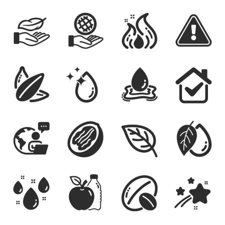 Set of Nature icons, such as Rainy weather, Water splash, Apple symbols. Leaf, Soy nut, Water drop signs. Pecan nut, Safe planet, Lightweight. Mineral oil, Fire energy, Sunflower seed. Vector 矢量图像