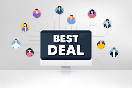 Best deal. Remote team work conference. Special offer Sale sign. Advertising Discounts symbol. Online remote learning. Virtual video conference. Best deal message. Vector Illusztráció