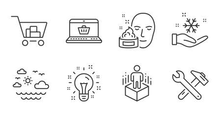 Face cream, Idea and Online shopping line icons set. Augmented reality, Spanner tool and Internet shopping signs. Freezing, Travel sea symbols. Gel, Creativity, Virtual reality. Business set. Vector