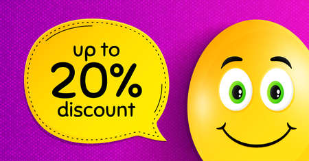 Up to 20% Discount. Easter egg with smile face. Sale offer price sign. Special offer symbol. Save 20 percentages. Easter smile character. Discount tag speech bubble. Yellow egg background. Vector Vettoriali