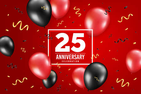 25 years anniversary. Anniversary birthday balloon confetti background. Twenty five years celebrating icon. Celebrate red banner. Birthday party balloon background. Age in a frame box. Vector Vettoriali