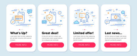 Set of Technology icons, such as People chatting, Phone insurance, Online shopping symbols. Mobile app mockup banners. Seo laptop line icons. Conference, Full coverage, Phone buying. Vector