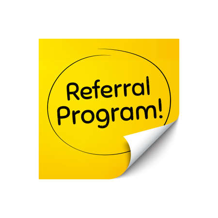 Referral program symbol. Sticker note with offer message. Refer a friend sign. Advertising reference. Yellow sticker banner. Referral program badge shape. Post note. Adhesive offer paper sheet. Vector