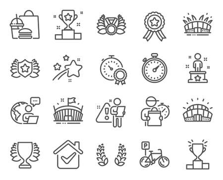 Sports icons set. Included icon as Winner podium, Best result, Arena signs. Arena stadium, Laureate, Winner symbols. Sports stadium, Bicycle parking, Laureate medal. Success, Timer. Vector  イラスト・ベクター素材