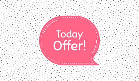 Today offer symbol. Pink speech bubble on polka dot pattern. Special sale price sign. Advertising discounts symbol. Thought speech balloon on polka dot background. Vector  イラスト・ベクター素材