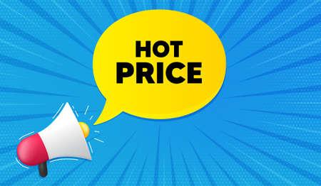 Hot Price. Background with megaphone. Special offer Sale sign. Advertising Discounts symbol. Megaphone banner. Hot price speech bubble. Loudspeaker background. Vector Illusztráció