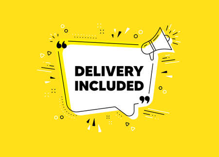 Delivery included. Megaphone yellow vector banner. Free shipping sign. Special offer symbol. Thought speech bubble with quotes. Delivery included chat think megaphone message. Vector Illusztráció