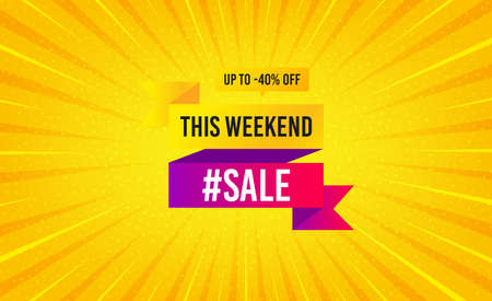 This weekend sale 40% off banner. Yellow background with offer message. Discount sticker shape. Hot offer icon. Best advertising coupon banner. Weekend sale badge shape. Abstract background. Vector