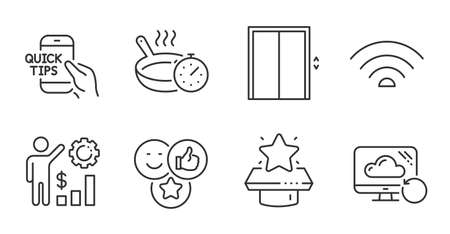 Recovery cloud, Education and Employees wealth line icons set. Lift, Frying pan and Wifi signs. Winner podium, Like symbols. Backup info, Quick tips, Results chart. Technology set. Vector