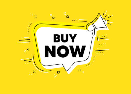 Buy Now. Megaphone yellow vector banner. Special offer price sign. Advertising Discounts symbol. Thought speech bubble with quotes. Buy now chat think megaphone message. Vector Illusztráció
