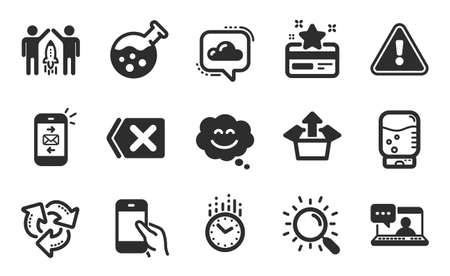 Partnership, Remove and Cloud communication icons simple set. Send box, Mail and Smile chat signs. Recycle, Loyalty card and Friends chat symbols. Search, Hold smartphone and Time. Vector