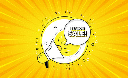 Season sale symbol. Yellow vector button with megaphone. Special offer price sign. Advertising discounts symbol. Season sale line icon. Abstract yellow background. Vector