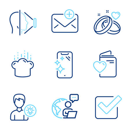 Business icons set. Included icon as Person idea, Love document, Smartphone clean signs. Cooking hat, Marriage rings, Checkbox symbols. New mail, Face id line icons. Line icons set. Vector