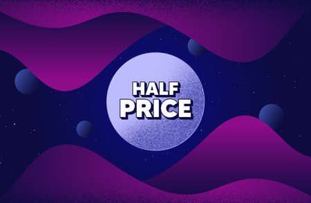 Half Price. Abstract background with dotwork shapes. Special offer Sale sign. Advertising Discounts symbol. Dotted offer message banner. Abstract space background. Design with dots. Vector