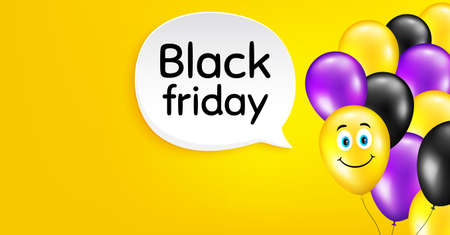Black Friday Sale. Smile balloon vector background. Special offer price sign. Advertising Discounts symbol. Birthday balloon background. Black friday speech bubble. Celebrate yellow banner. Vector