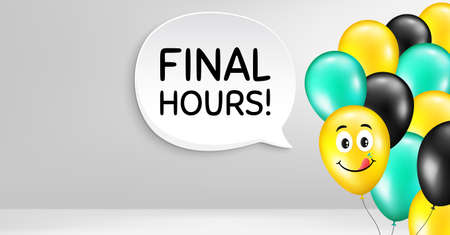 Final hours sale. Smile balloon vector background. Special offer price sign. Advertising discounts symbol. Birthday balloon banner. Final hours speech bubble. Celebrate background. Vector Illusztráció