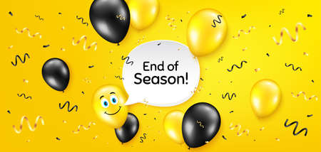 End of Season Sale. Balloon confetti vector background. Special offer price sign. Advertising Discounts symbol. Birthday balloon background. End season message. Celebrate yellow banner. Vector