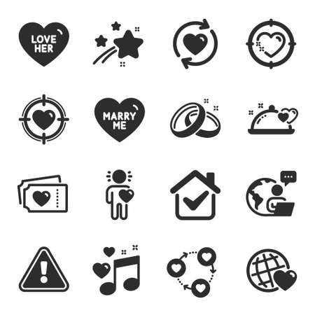 Set of Love icons, such as Love music, Love tickets, Friend symbols. Heart target, Friends community, Romantic dinner signs. Wedding rings, Marry me, Friends world. Valentine target. Vector