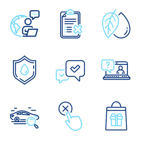 Business icons set. Included icon as Holidays shopping, Faq, Approve signs. Reject checklist, Mineral oil, Search car symbols. Reject click, Blood donation line icons. Gifts bag, Web support. Vector