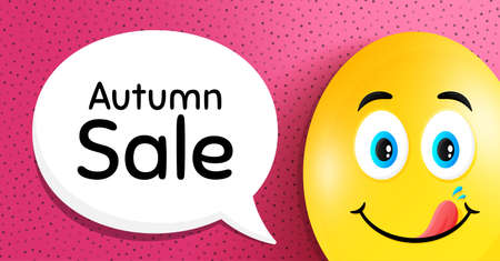 Autumn Sale. Easter egg with yummy smile face. Special offer price sign. Advertising Discounts symbol. Easter smile character. Autumn sale speech bubble. Yummy egg background. Vector
