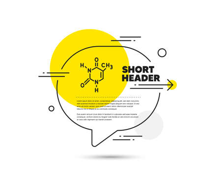 Chemical formula line icon. Speech bubble vector concept. Chemistry lab sign. Analysis symbol. Chemical formula line icon. Abstract bubble balloon badge. Vector