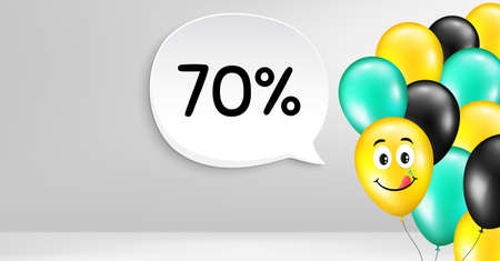 70% off Sale. Smile balloon vector background. Discount offer price sign. Special offer symbol. Birthday balloon banner. Discount speech bubble. Celebrate background. Vector