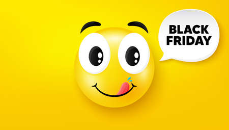 Black Friday Sale. Yummy smile face with speech bubble. Special offer price sign. Advertising Discounts symbol. Yummy smile character. Black friday speech bubble icon. Yellow face background. Vector