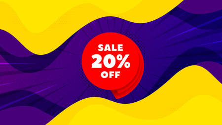 Sale 20% off banner. Fluid liquid background with offer message. Discount sticker shape. Coupon bubble icon. Best advertising coupon banner. Sale 20% badge shape. Vector