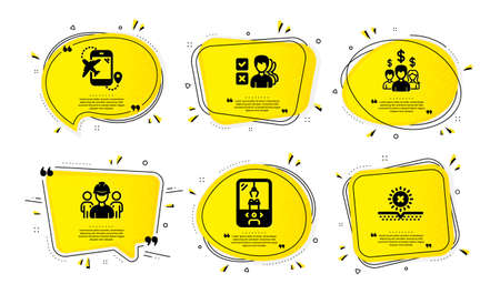Flight destination, Engineering team and Salary employees icons simple set. Yellow speech bubbles with dotwork effect. Crane claw machine, Opinion and No sun signs. Vector
