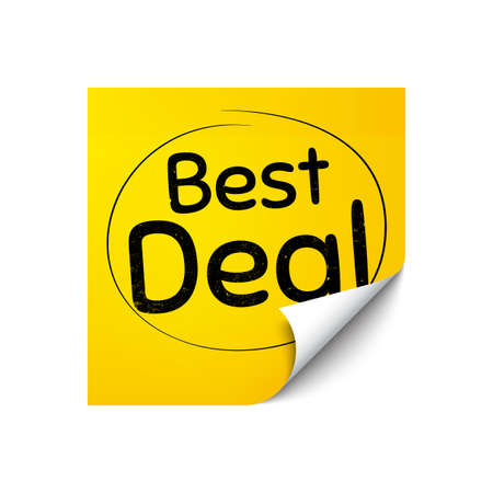 Best deal. Sticker note with offer message. Special offer Sale sign. Advertising Discounts symbol. Yellow sticker banner. Best deal badge shape. Post note. Adhesive offer paper sheet. Vector
