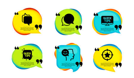 Web tutorials, Messenger and Good mood icons simple set. Speech bubble with quotes. Chat message, Quick tips and Star target signs. Quick tips, Speech bubble, Positive thinking. Vector