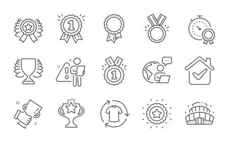 Approved, Change clothes and Winner line icons set. Success, Victory and Best result signs. Honor, Winner cup and Arena stadium symbols. Reward. Shirt, Sports achievement. Sports set. Vector  イラスト・ベクター素材
