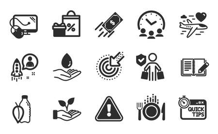 Helping hand, Meeting time and Buyer insurance icons simple set. Honeymoon travel, Targeting and Quick tips signs. Water care, Computer mouse and Startup symbols. Flat icons set. Vector 矢量图像