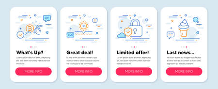 Set of line icons, such as No sun, Bitcoin mining, Security lock symbols. Mobile screen mockup banners. Ice cream line icons. Uv protect, Cryptocurrency pickaxe, Shield protection. Vector  イラスト・ベクター素材