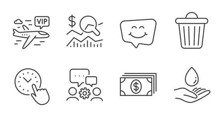 Banking, Vip flight and Engineering team line icons set. Water care, Trash bin and Smile chat signs. Check investment, Time management symbols. Money payment, Charter airplane, Teamwork. Vector