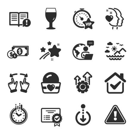 Set of Business icons, such as Move gesture, Sea mountains, Certificate symbols. Seo gear, Dollar money, Scroll down signs. Time, Vip timer, Ice cream. Facts, Heart, Beer glass flat icons. Vector