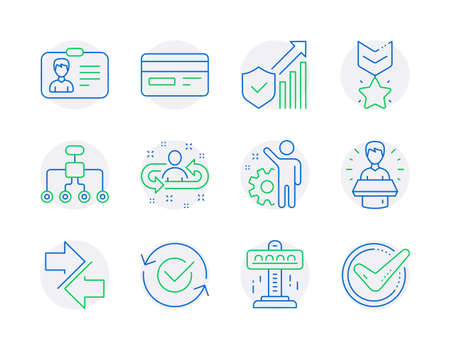 Technology icons set. Included icon as Approved, Recruitment, Identification card signs. Attraction, Employee, Security statistics symbols. Brand ambassador, Credit card, Winner medal. Vector