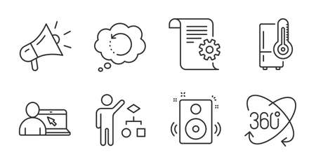 Refrigerator, Speakers and Algorithm line icons set. Online education, Megaphone and Recovery data signs. Technical documentation, Full rotation symbols. Quality line icons. Refrigerator badge. Vector Vettoriali