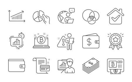 Bitcoin, Loyalty award and Statistics timer line icons set. Money wallet, Dollar and Chart signs. Pie chart, Dollar wallet and Presentation board symbols. Line icons set. Vector 向量圖像